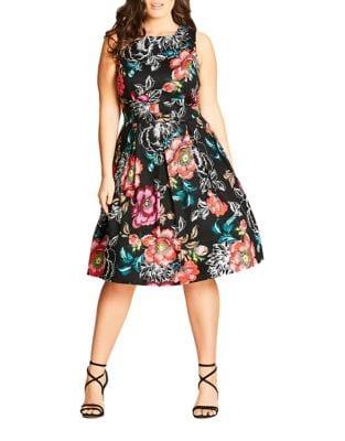 Plus Floral Box-Pleat Dress by City Chic