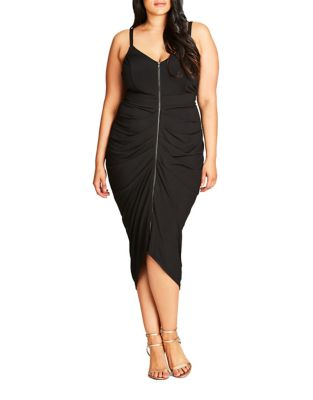 Plus Gathered Zip Front Dress by City Chic