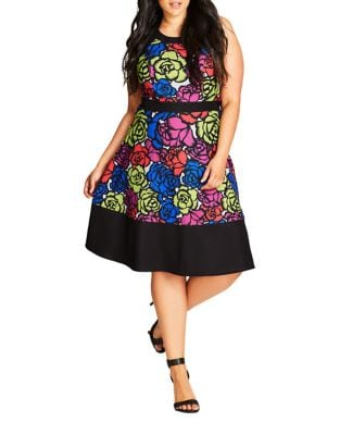 Plus Roundneck Floral-Print Dress by City Chic