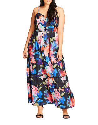 Plus Floral Shoulder-Strap Dress by City Chic