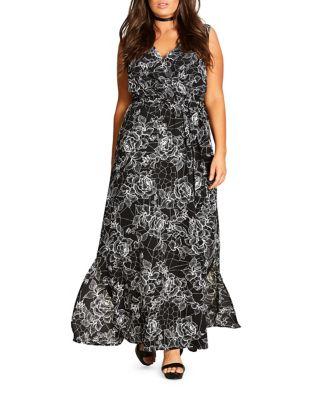 Plus Surplice-Neckline Floral-Print Dress by City Chic
