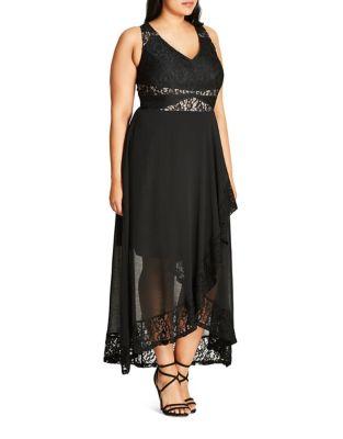 Plus Sleeveless Asymmetric-Hem Dress by City Chic