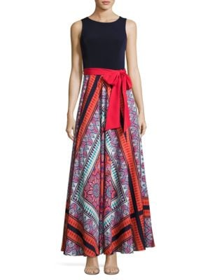 Belted Paisley Maxi Dress by Eliza J
