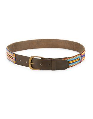 Beaded Leather Belt @...