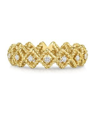 0.21 TCW Diamond & 18K Yellow Gold Bar Ring