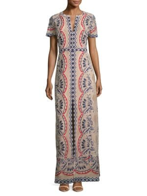 Patterned Lace Maxi Dress by BCBGMAXAZRIA