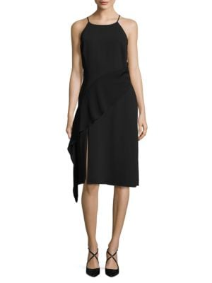 Asymmetrical Ruffled Split Hem Dress by RACHEL Rachel Roy