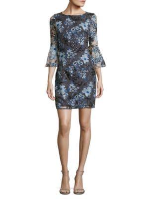 Embellished Floral Sheath Dress by Belle Badgley Mischka