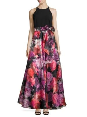 Sleeveless Floral Print Gown by Eliza J