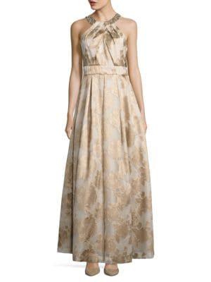 Embellished Halterneck Floral Gown by Eliza J