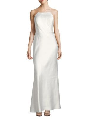 Scoopback Satin Gown by Calvin Klein