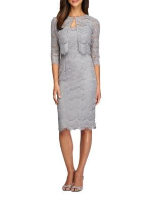 Scalloped-Lace Jacket Dress by Alex Evenings