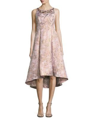 Embellished A-Line Jacquard Gown by Adrianna Papell