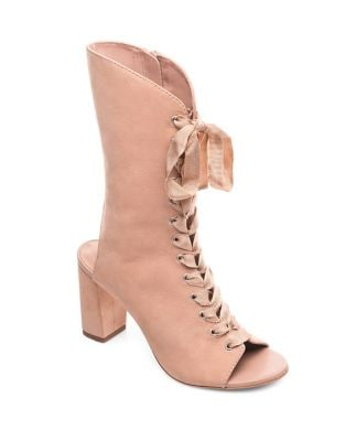 Heidi Peep Toe Leather Booties by Bernardo