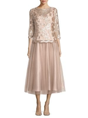 Floral-Embroidered A-Line Dress by Alex Evenings