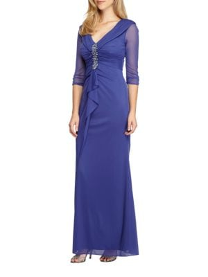 Studded Ruched Gown by Alex Evenings