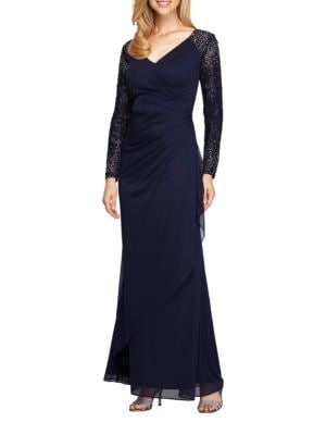 Ruched Beaded Gown by Alex Evenings