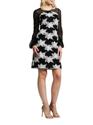 Illusion Floral Cocktail Dress by Kay Unger