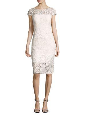 Paneled Lace Sheath Dress by Kay Unger