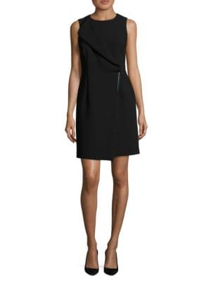 Foldover Panel Mock Wrap Sheath Dress by DKNY