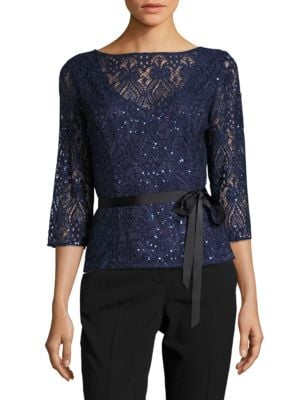 Lace Tie Top by Alex Evenings