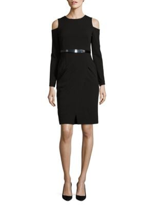 Cold Shoulder Long Sleeved Wrap Dress by DKNY