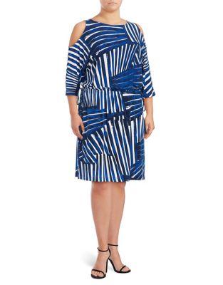 Cold Shoulder Print Dress by Calvin Klein Plus