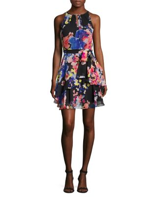 Floral Ruffle Dress by Tahari Arthur S. Levine