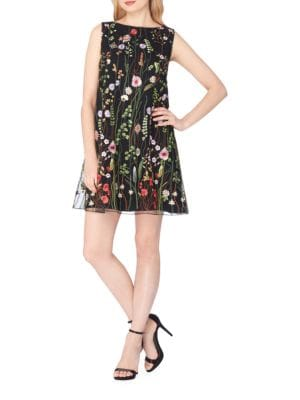 Floral Embroidered Shift Dress by Tahari Arthur S. Levine