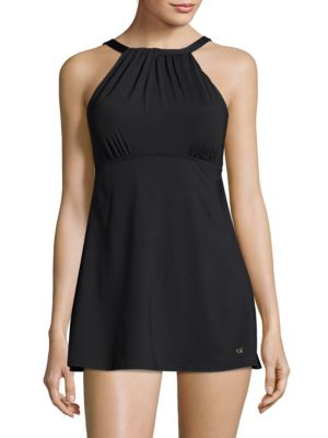 Gathered Mini Swim Dress by Calvin Klein Swim