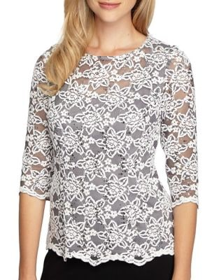 Floral-Lace Illusion Top by Alex Evenings
