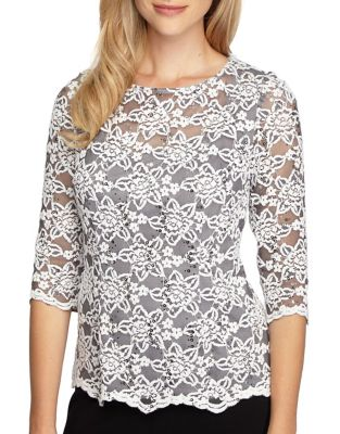 Floral-Lace Three-Quarter Sleeve Top by Alex Evenings