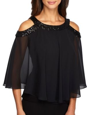 Sequined Cold-Shoulder Top by Alex Evenings