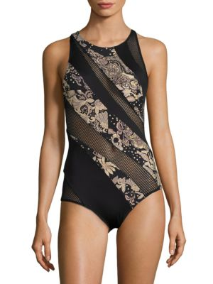 Ornamental Floral Jewelneck Swimsuit by Carmen Marc Valvo