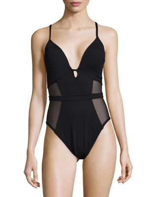 Mesh Paneled One-Piece Swimsuit by Kenneth Cole New York