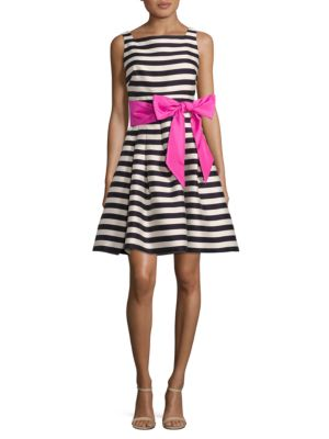 Striped Fit and Flare Cocktail Dress by Eliza J