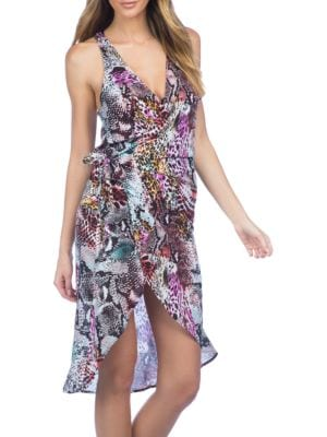 Pure Instincts Printed Wrap Cover-Up Dress by Kenneth Cole New York