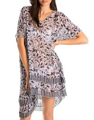 Batik-Print V-Neck Dress by Amita Naithani