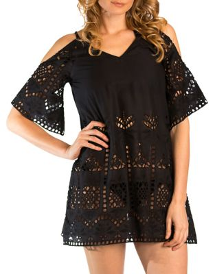 Solid Cutout Cold-Shoulder Tunic by Amita Naithani