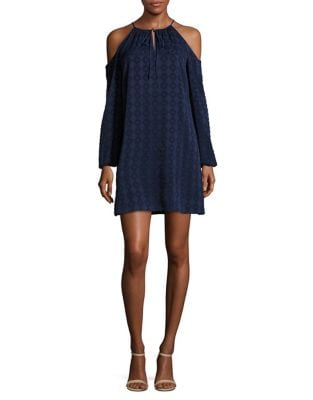 Textured Geometric Cold-Shoulder Dress by Cynthia Steffe