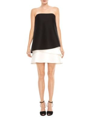 Strapless Tiered Colorblock Dress by Halston Heritage