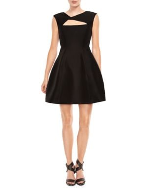 Silk and Cotton Cutout Fit and Flare Dress by Halston Heritage