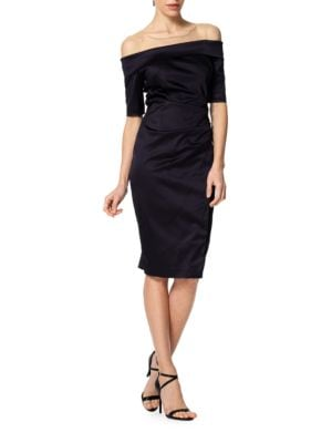 Off-the-Shoulder Satin Dress by Kay Unger