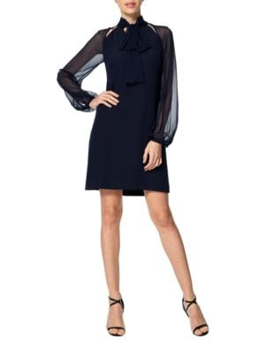 Tie-Neck Sheer Sleeved Dress by Kay Unger