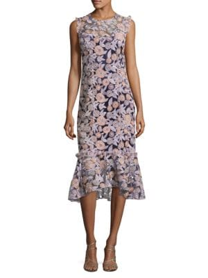 Embroidered Floral Ruffled Hem Dress by Shoshanna