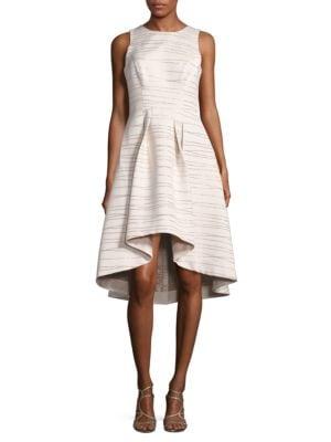 MIDNIGHT Coraline Metallic Striped Jacquard Dress by Shoshanna