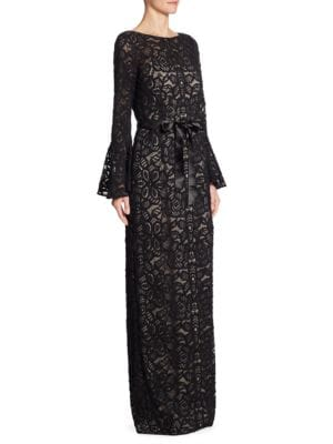 Bell Sleeve Lace Gown by Teri Jon