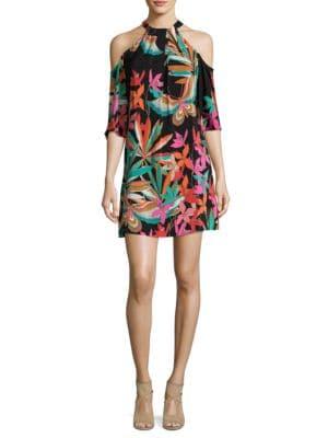 Spirit Cold-Shoulder Silk Dress by Trina Turk