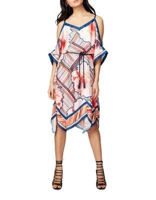 Scarf Print Cold Shoulder Dress by RACHEL Rachel Roy