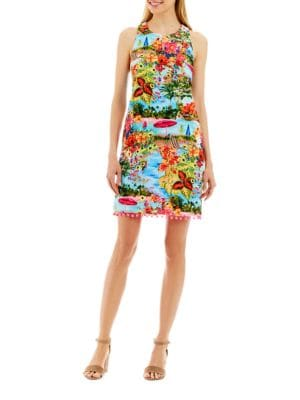 Tropical Print T-Back Dress by Nicole Miller New York
